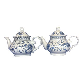 Floral Blue and White Ceramic Teapots - Set of 2 For Sale