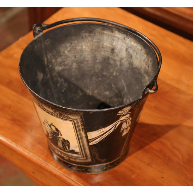 19th Century French Directoire Hand-Painted Black and White Tile Basket Planter For Sale - Image 4 of 9