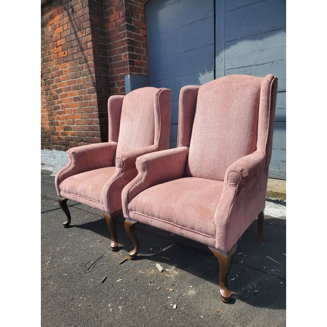 Blush Vintage Blush Pink Velvet Armchairs - a Pair For Sale - Image 8 of 12