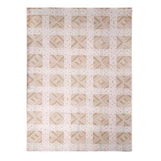 Rug & Kilim's Scandinavian-Inspired Geometric Cream Gray Natural Wool Rug - 10′4″ × 14′1″ For Sale
