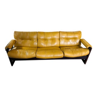 1970s Mid-Century Modern Percival Lafer Butterscotch Yellow Leather Sofa