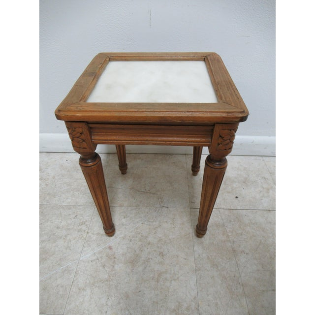 1930s French Carved Marble Top End Table For Sale - Image 10 of 12