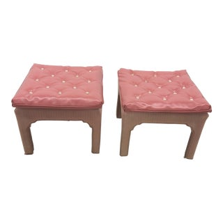 1970s Vintage Two Tone Pink Tufted Billy Baldwin Hollywood Regency Ottoman Footstools - a Pair For Sale
