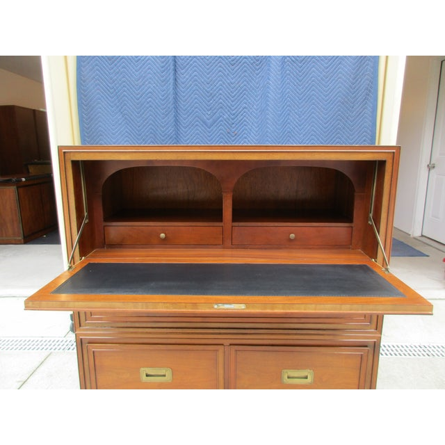Animal Skin Baker Milling Road Campaign Style Secretary Desk For Sale - Image 7 of 13