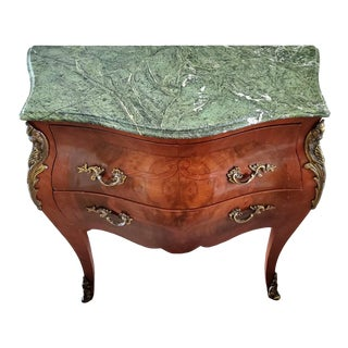 Antique Continental European Book-Matched Burl Marquetry Bombe Commode For Sale