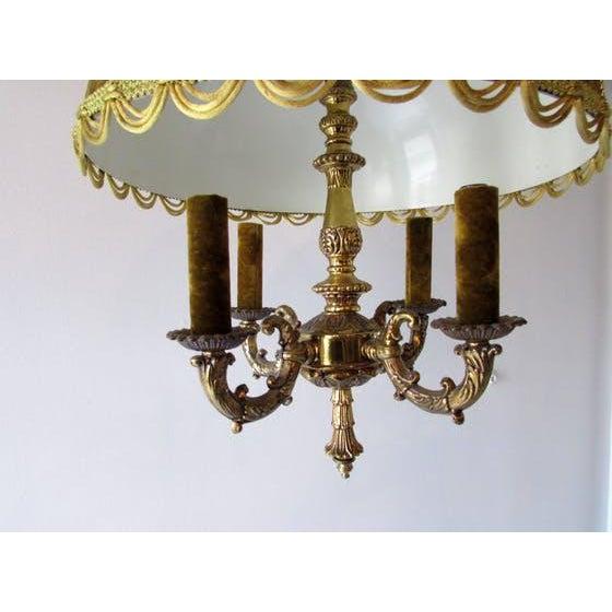 French Brass & Velvet Pendant Light For Sale In Raleigh - Image 6 of 7