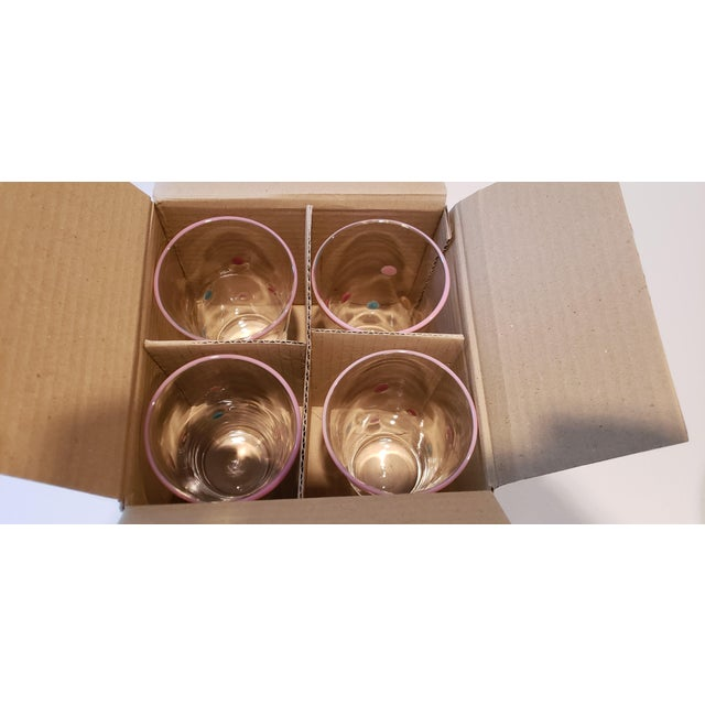 Early 21st Century Polka Dot, Pink-Rimmed Hand-Blown Tumblers - Set of 4 For Sale - Image 5 of 7
