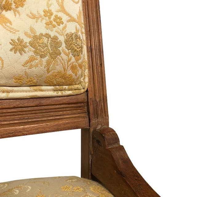 1900s Carved Brocade Upholstered Tufted Side Pagoda Top Chair With Casters in the Style of Eastlake For Sale In Oklahoma City - Image 6 of 9