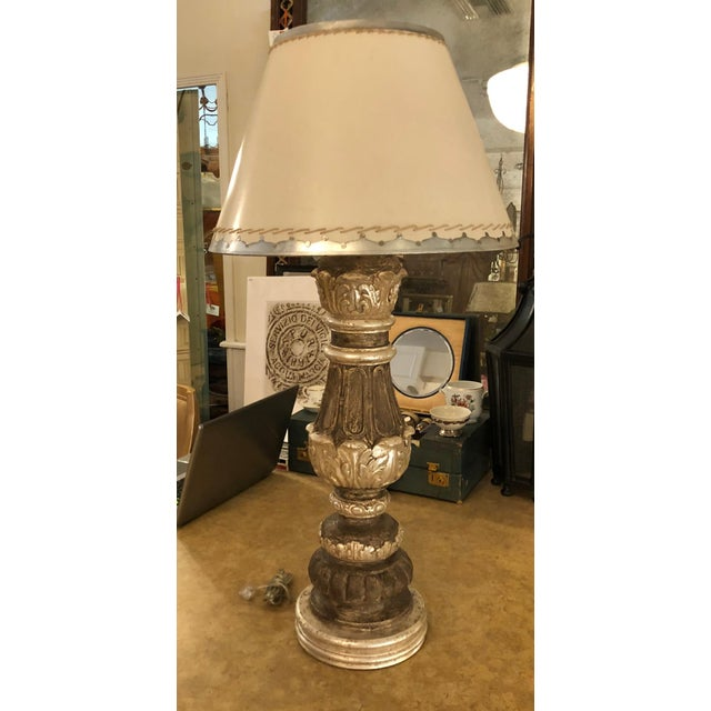 Spectacular Carved Italian Giltwood Urn Form Lamp. Shade not included.