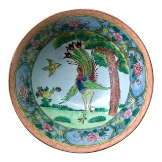 Vintage Chinese Floral and Birds of Paradise Porcelain Bowl