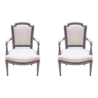 19th Century French Painted Fauteuil Chairs - Pair For Sale