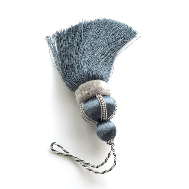 "Blue Traditional Key Tassel With Cut Ruche - 5.75"" For Sale - Image 8 of 10"