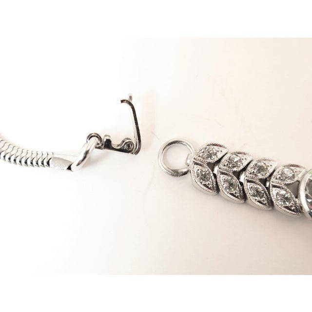 Art Deco Engel Brothers Rhodium Sterling & Crystal Necklace 1930s For Sale - Image 9 of 13