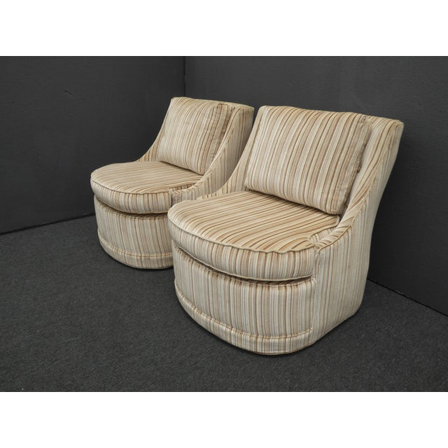 Mid-Century Modern Vintage Mid-Century Modern Milo Baughman Style Tan Stripped Velvet Swivel Chairs - a Pair For Sale - Image 3 of 13