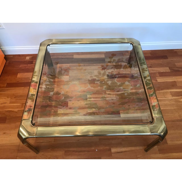Modern 1970s Modern Mastercraft for Baker Brass Glass Cocktail Coffee Table John Widdicomb For Sale - Image 3 of 7