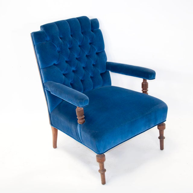Edwardian Edwardian English Arm Chair and Foot Stool For Sale - Image 3 of 12