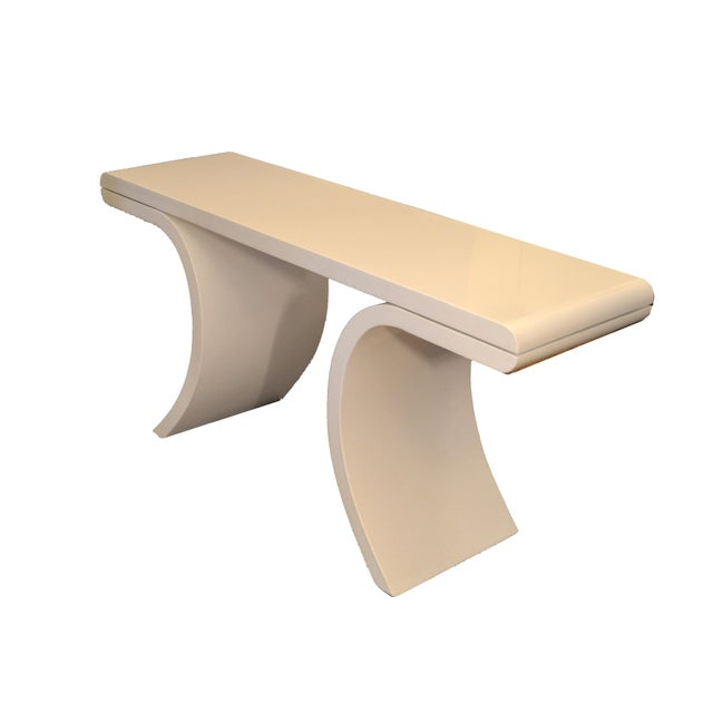 Karl Springer Hollywood Regency White Lacquer Console Table With Curved Legs For Sale - Image 4 of 11