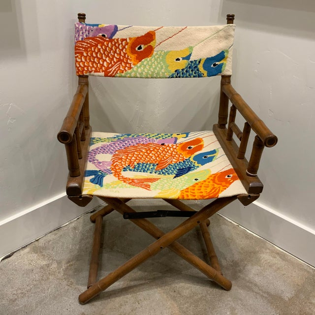 Vintage Needlepoint Director's Chair For Sale In Dallas - Image 6 of 6
