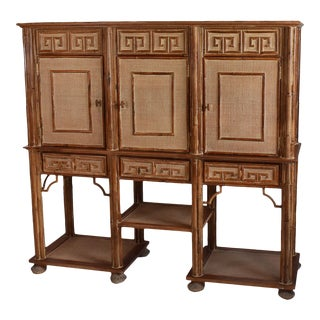 Greek Large Woven Rattan Key Cabinet For Sale