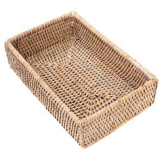 Boho Chic Artifacts White Rattan Napkin Holder For Sale