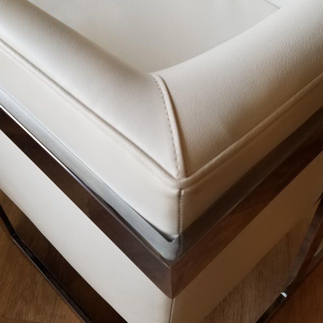 """1970s Milo Baughman Style """"T Back"""" Lounge Chairs in White Calf Leather - a Pair For Sale - Image 9 of 13"""