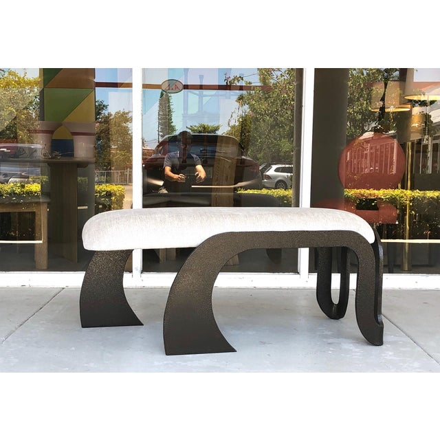 Pair of Abstract Modern Heavy Bronze Enamel Benches Ottomans, 1980s For Sale - Image 12 of 13
