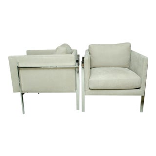 Pair of Milo Baughman Chrome Arm Chairs For Sale