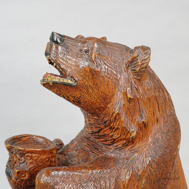 A Large Carved Standing Bear, Brienz Ca. 1930 For Sale - Image 6 of 6