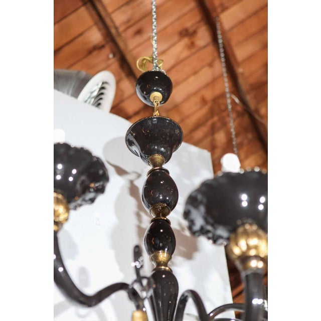Black and Gold Venetian Chandelier For Sale - Image 4 of 9