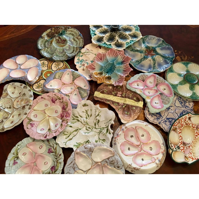 Blue Porcelain Crescent Shape Pink Wells & Pale Turquoise Hand-Painted Oyster Plate For Sale - Image 8 of 9