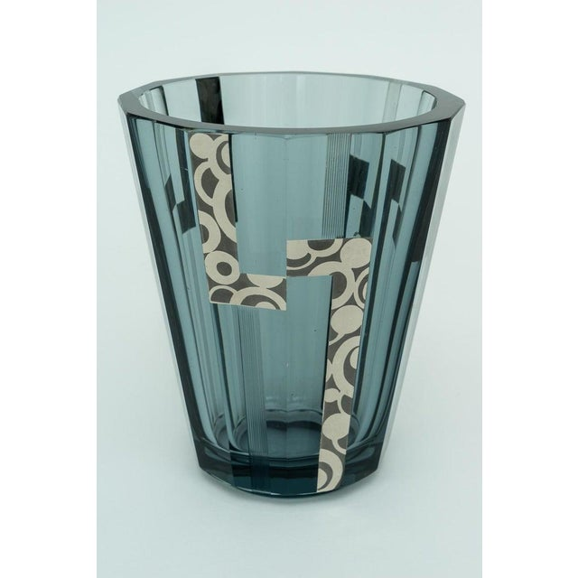 1920s Art Deco Crystal Vase With Silver Overlay For Sale In West Palm - Image 6 of 9