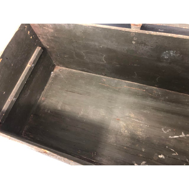 Vintage Industrial Wood Military Foot Locker With Tray For Sale - Image 10 of 13