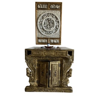 Contemporary Chinese Altar Gilded Wood Hand Carved With Gold and Silver Hanging For Sale