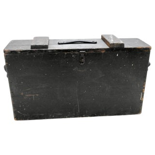 Primitive Wooden Tool Box With Leather Details For Sale