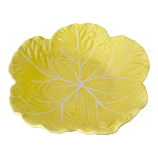 Vintage Yellow Cabbage Leaf Bowl For Sale