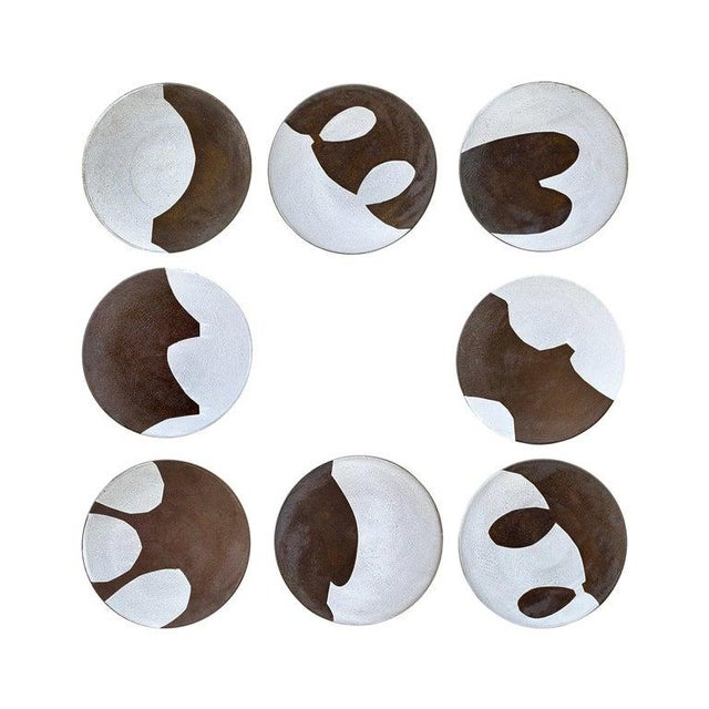 Set of Eight Hand-Thrown Stoneware Dinner Plates For Sale - Image 13 of 13