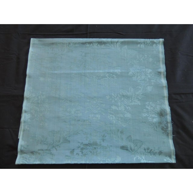 Antique Blue Floral Silk Damask Textile Panel For Sale In Miami - Image 6 of 6