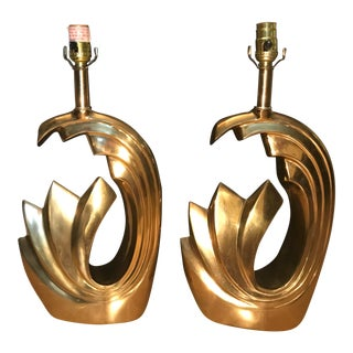 "Mid 20th Century Pierre Cardin Brass ""Tidal Wave"" Lamp - a Pair For Sale"