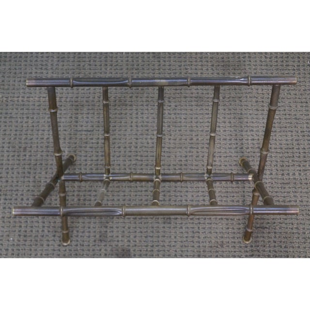 Hollywood Regency Faux Bamboo Brass Magazine Stand - Image 7 of 10