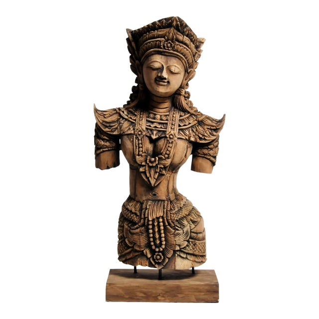 Southeast Asian Wood Carving Model of a Goddess For Sale