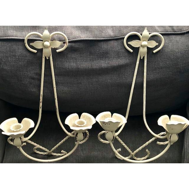 Mid-Century Wrought Iron Wall Sconce Candle Holders - Set of 2 For Sale - Image 10 of 10