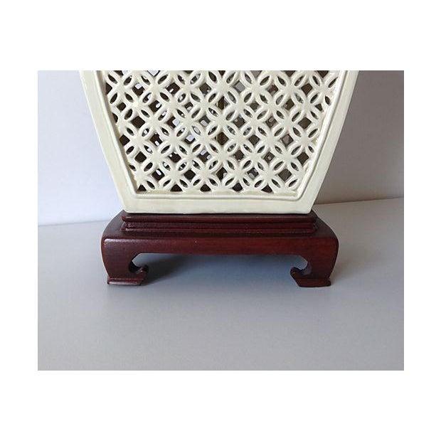 Porcelain Chinoiserie Lamp on Wood Base - Image 6 of 7