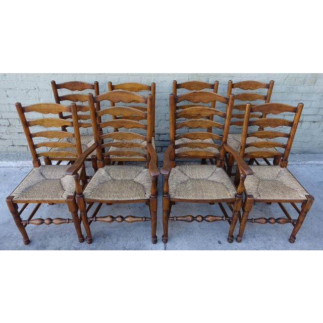 English Ladder Back Dining Chairs Set Of 8