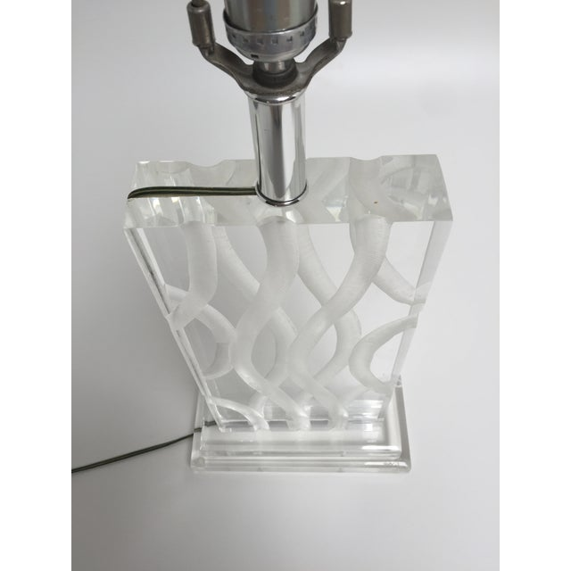 Vintage Van Teal Carved Lucite Table Lamp - Image 10 of 10