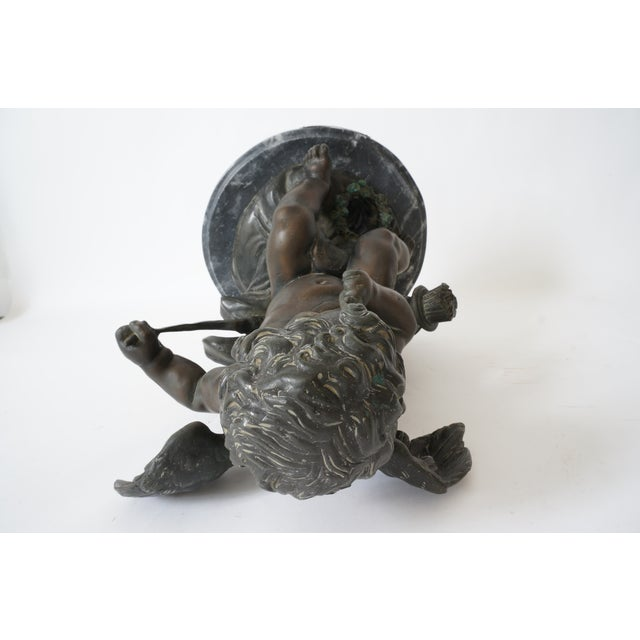 """Vintage After Houdon """"Seated Cupid With Bow"""" Bronze Sculpture For Sale - Image 11 of 13"""