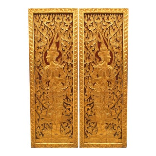 19th Century Thai Painted and Carved Door Panels - a Pair For Sale