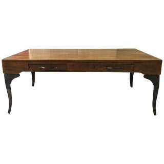 Traditional Wooden Coffee Table With Metal Legs For Sale