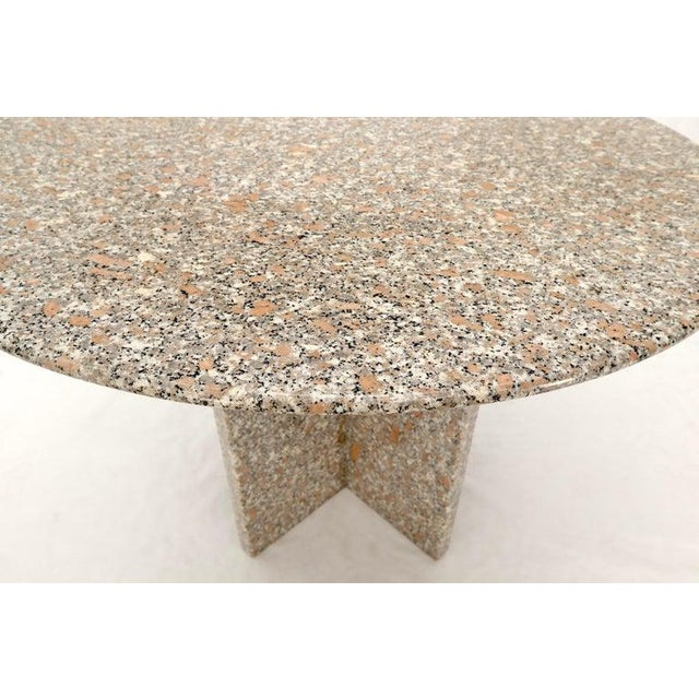 Round Granite Stone X Base Dining Dinette Center Table For Sale - Image 6 of 9