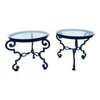 1950's Baroque Wrought Iron Side Tables – a Pair