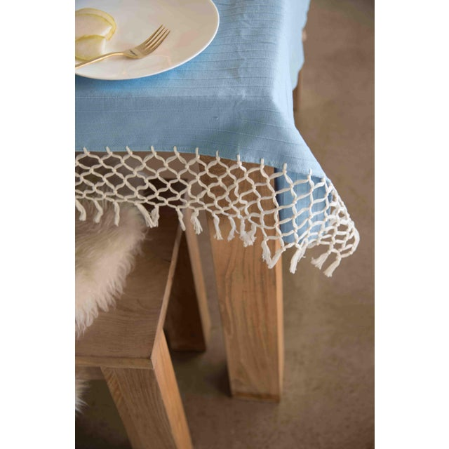 Sky Blue Cotton Tablecloth - Image 3 of 6